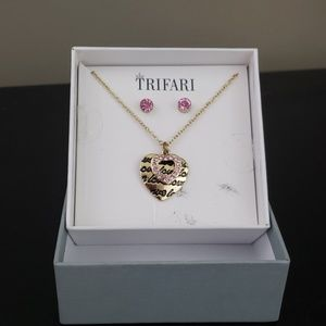 TRIFARI heart necklace set with pink rhinestones